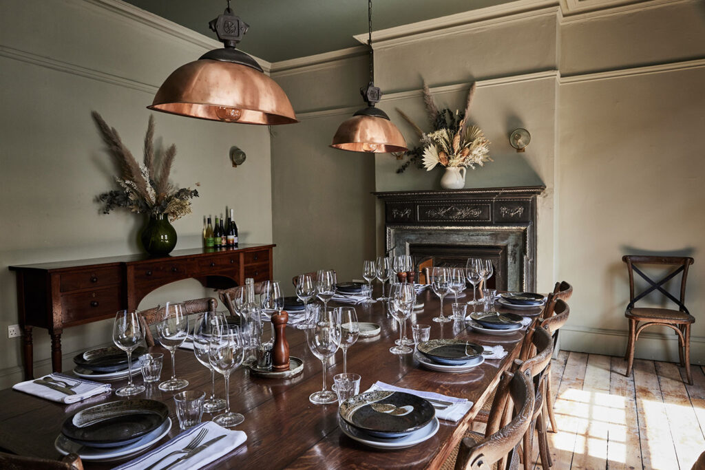 table set for private dining